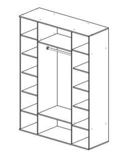 Шкаф распашной Квадро-2 лдсп без зеркал 11740 рублей, фото 2 | интернет-магазин Складно