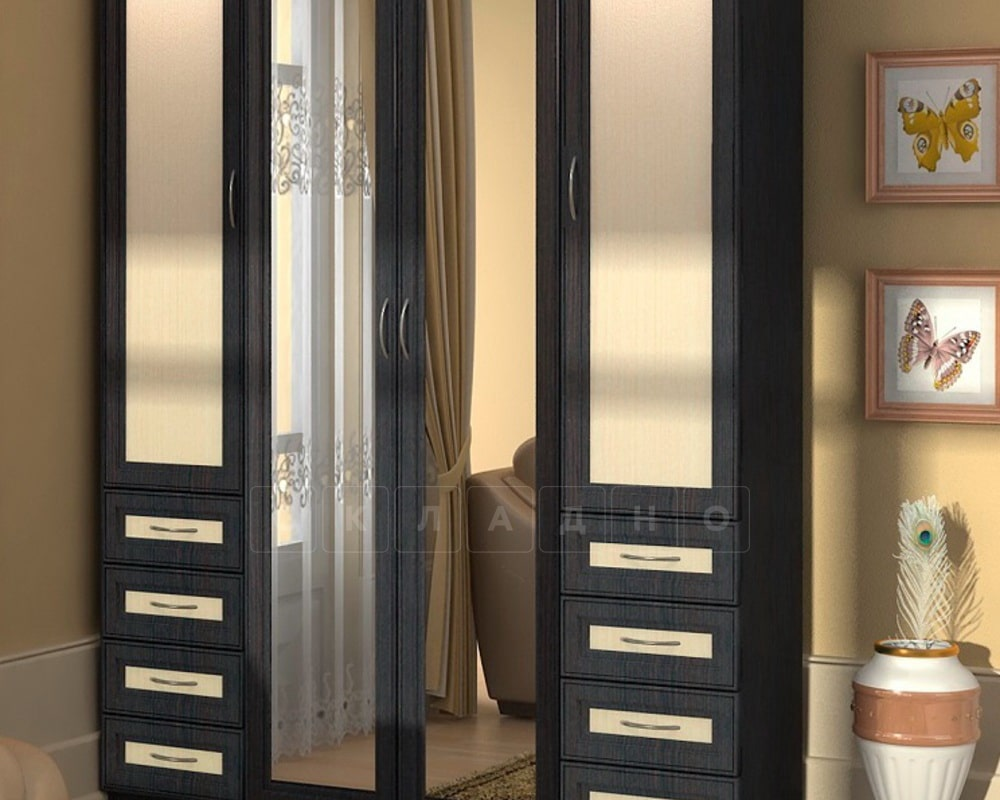 Шкаф распашной Квадро рамка мдф с ящиками с зеркалами фото 1 | интернет-магазин Складно