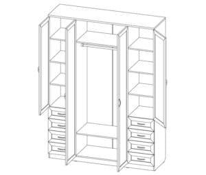 Шкаф распашной Квадро лдсп с ящиками без зеркал 15470 рублей, фото 2 | интернет-магазин Складно