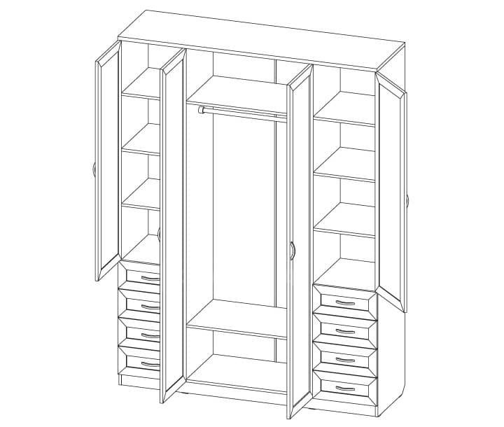 Шкаф распашной Квадро лдсп с ящиками без зеркал фото 2 | интернет-магазин Складно