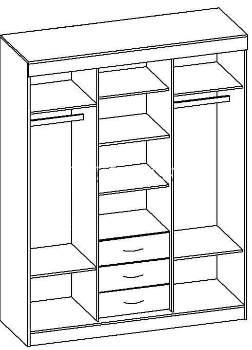 Шкаф-купе Фиеста 1,7м венге-дуб фото 3 | интернет-магазин Складно
