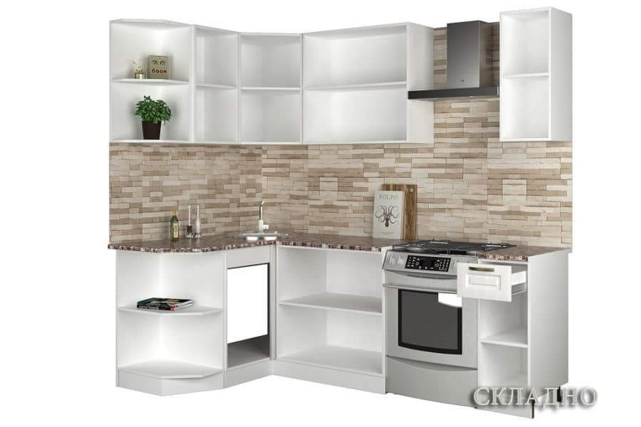 Кухня угловая Агава 1,3х1,7м фото 2 | интернет-магазин Складно