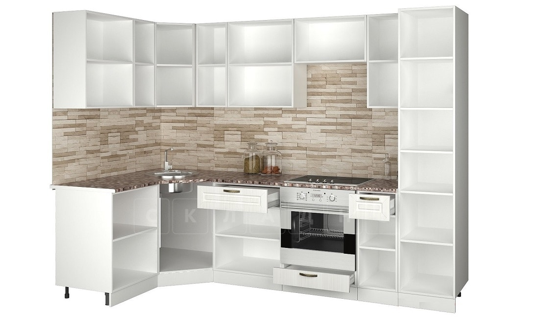Кухня угловая с пеналом Агава 1,45х2,75м фото 2 | интернет-магазин Складно