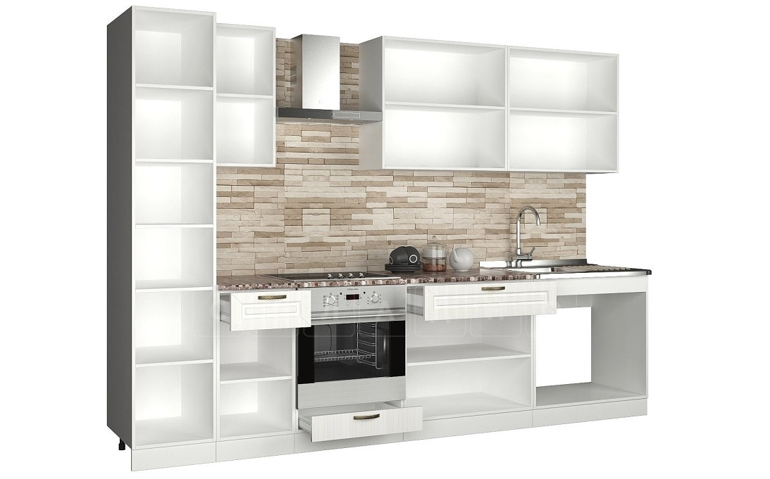 Кухонный гарнитур с пеналом Агава 3,0м вариант 2 фото 2 | интернет-магазин Складно