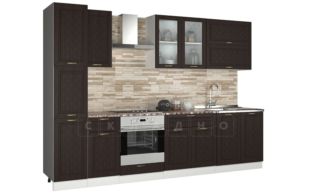 Кухонный гарнитур с пеналом Агава 3,0м вариант 2 фото 3 | интернет-магазин Складно
