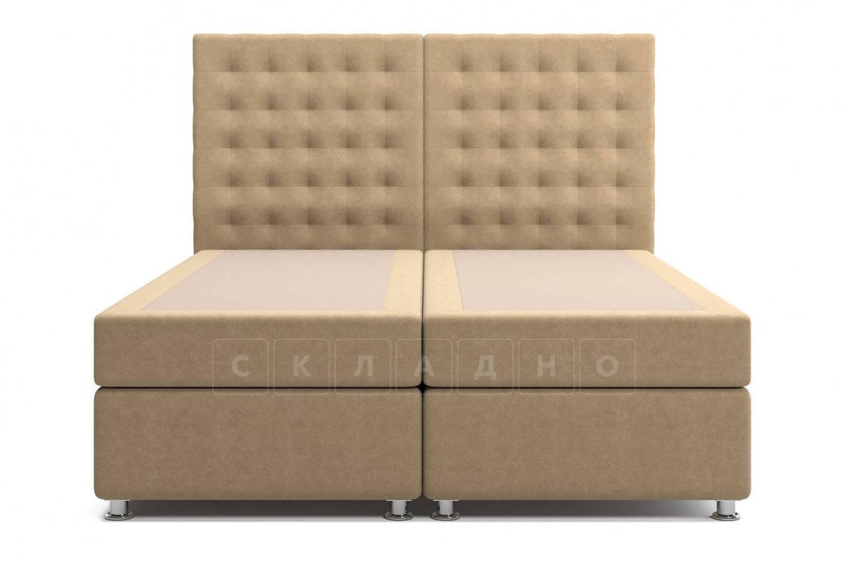 Кровать Парадиз темно-бежевого цвета два раздельных матраса пружинный блок Боннель фото 2 | интернет-магазин Складно