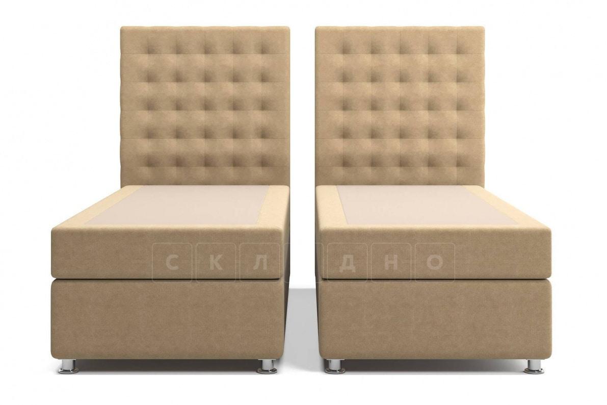 Кровать Парадиз темно-бежевого цвета два раздельных матраса пружинный блок Боннель фото 1 | интернет-магазин Складно