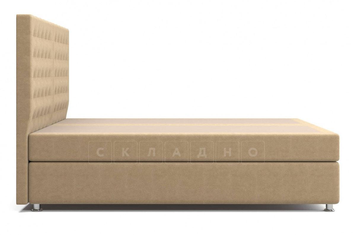Кровать Парадиз темно-бежевого цвета два раздельных матраса пружинный блок Боннель фото 4 | интернет-магазин Складно