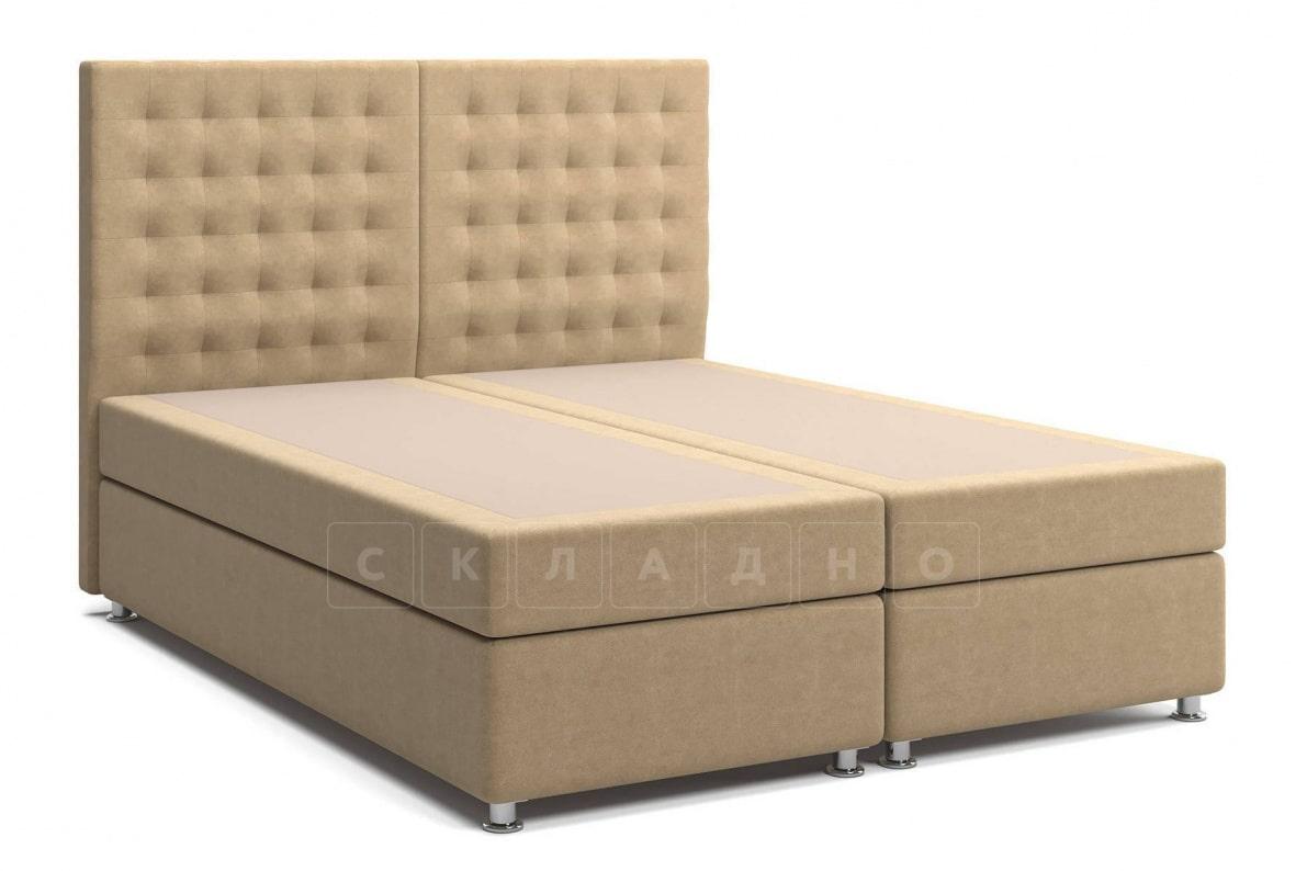 Кровать Парадиз темно-бежевого цвета два раздельных матраса пружинный блок Боннель фото 3 | интернет-магазин Складно