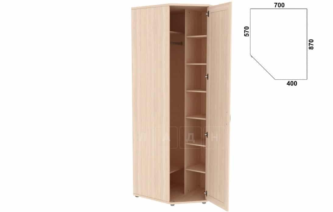 Угловой шкаф несимметричный 537-02 с зеркалом фото 4 | интернет-магазин Складно