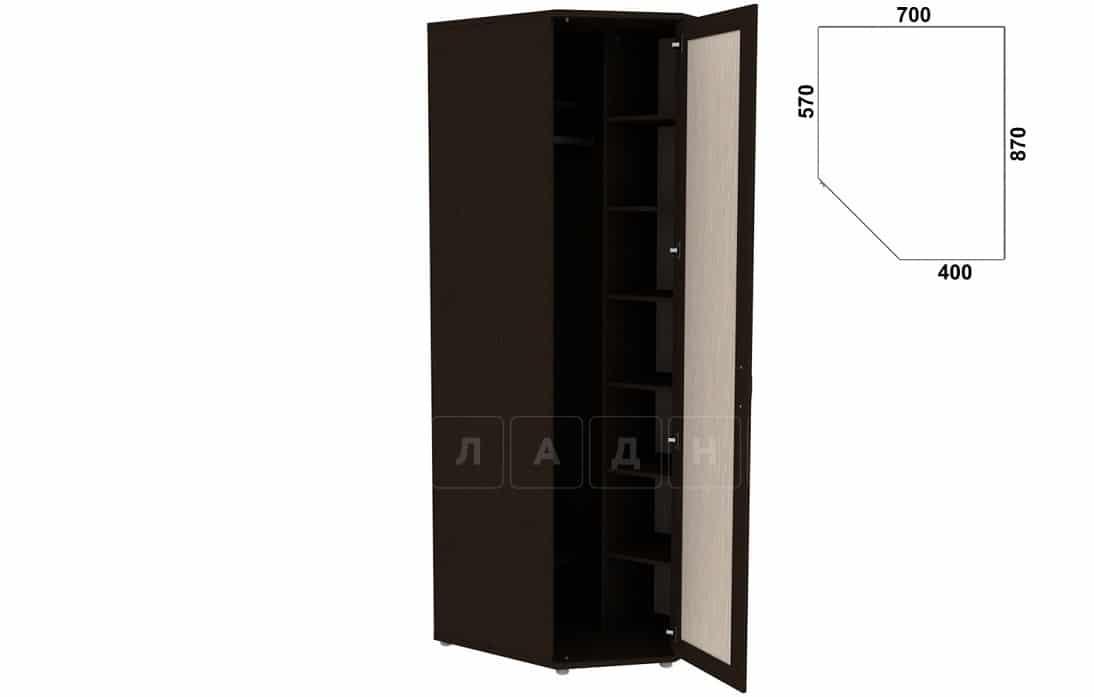 Угловой шкаф несимметричный 537-02 с зеркалом фото 6 | интернет-магазин Складно