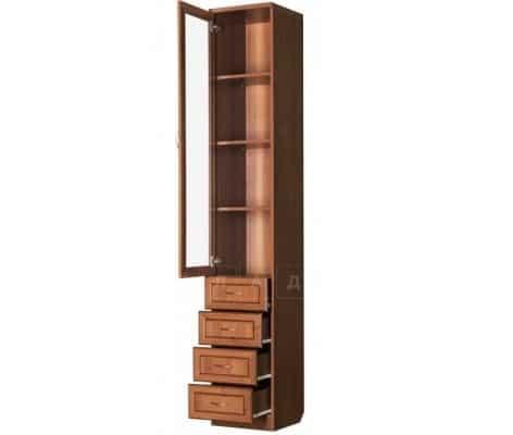 Книжный шкаф с ящиками узкий 205 итальянский орех фото 2 | интернет-магазин Складно