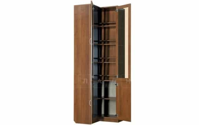 Угловой шкаф для книг 211 итальянский орех со стеклостворками фото 2 | интернет-магазин Складно