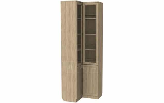 Угловой шкаф для книг 211 дуб со стеклостворками фото 4 | интернет-магазин Складно