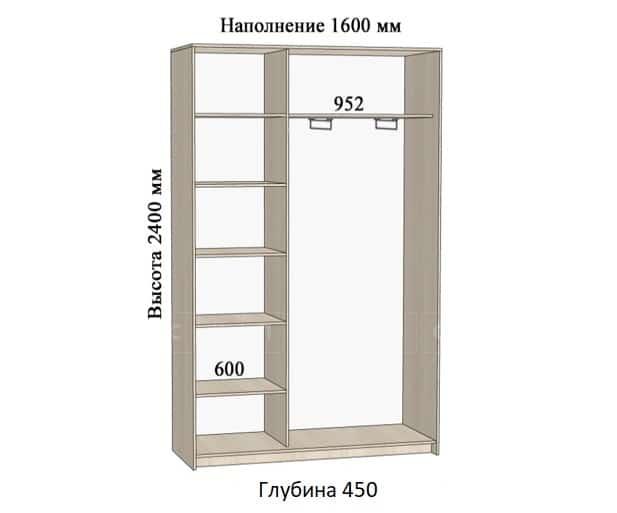 Шкаф-купе Комфорт ширина 160см, модель 1640 фото 1 | интернет-магазин Складно