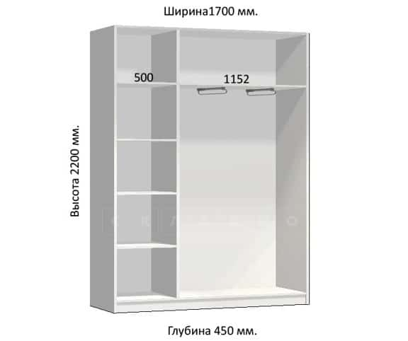 Шкаф-купе Комфорт ширина 170см, модель 1750 фото 1 | интернет-магазин Складно