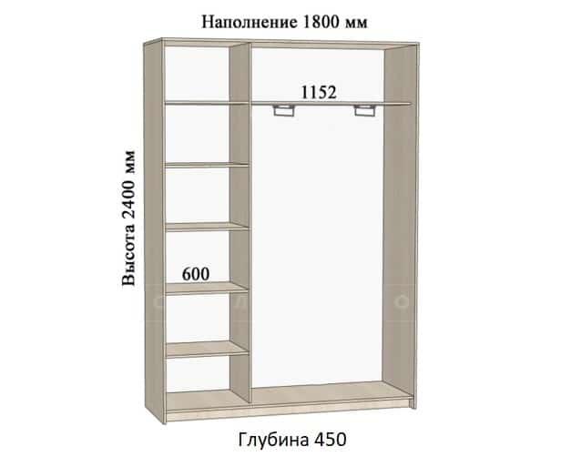 Шкаф-купе Комфорт ширина 180см, модель 1840 фото 1 | интернет-магазин Складно