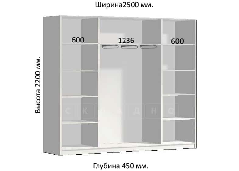 Шкаф-купе Комфорт ширина 250см, модель 2550 фото 1 | интернет-магазин Складно