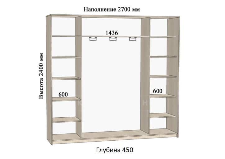 Шкаф-купе Комфорт ширина 270см, модель 2740 фото 1 | интернет-магазин Складно