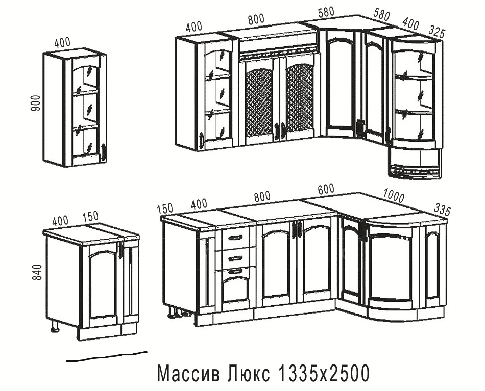 Кухня угловая Массив-Люкс 1335х2500 фото 6 | интернет-магазин Складно