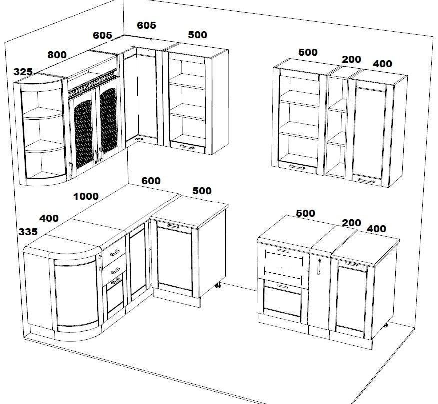 Кухня угловая Массив-Люкс 1735х2200 фото 6 | интернет-магазин Складно