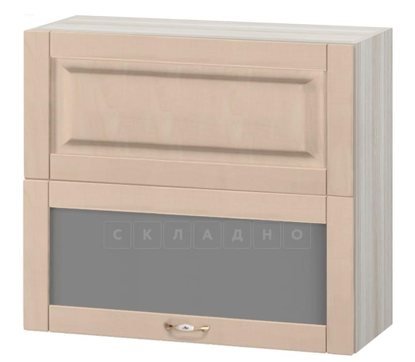 Кухонный навесной шкаф горизонтальный со стеклом Массив 80см МВ-14в фото 1   интернет-магазин Складно