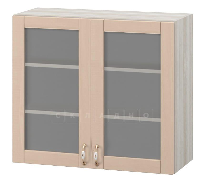 Кухонный навесной шкаф со стеклом Массив 80см МВ-36в фото 1 | интернет-магазин Складно