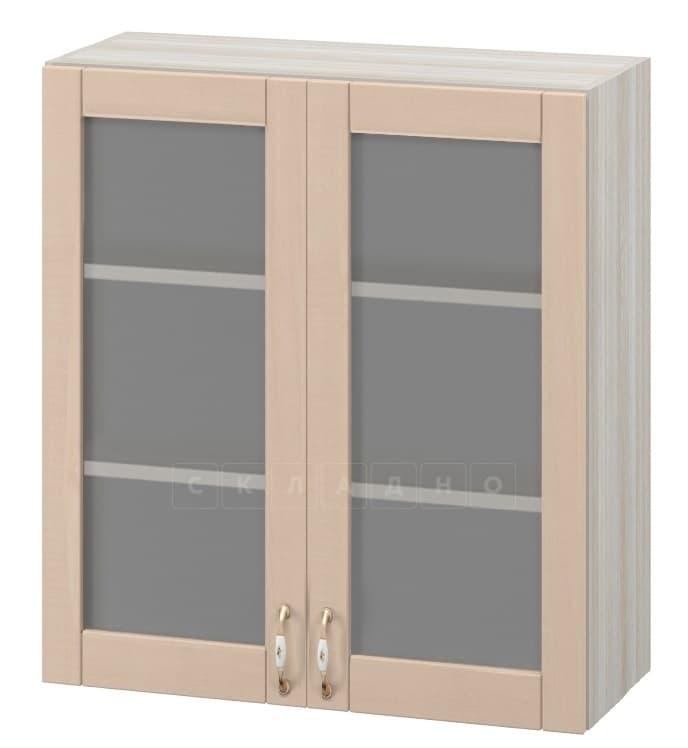 Кухонный навесной шкаф со стеклом Массив 60см МВ-62в с двумя дверцами фото 1   интернет-магазин Складно