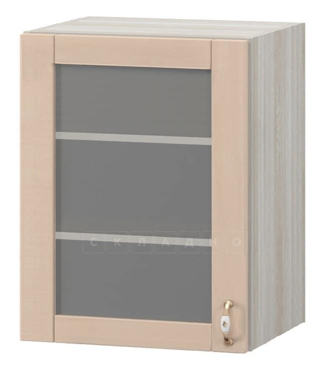 Кухонный навесной шкаф со стеклом Массив 60см МВ-65в с одной дверцей фото 1   интернет-магазин Складно