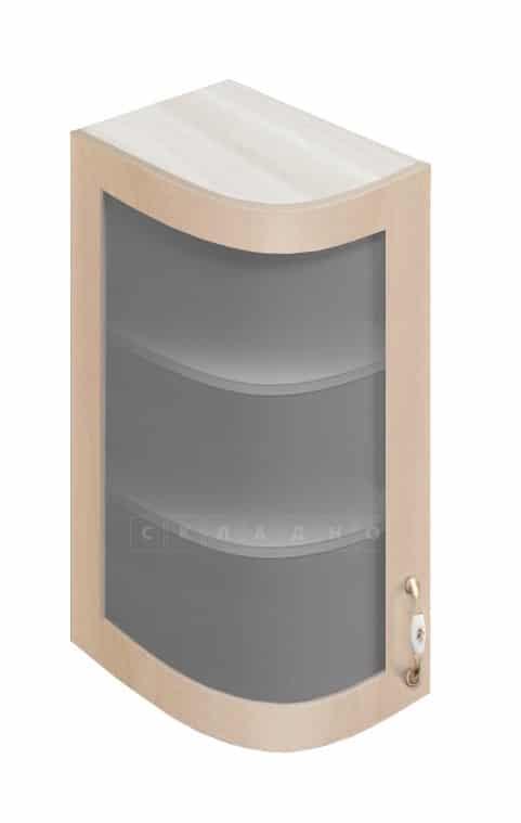 Кухонный навесной шкаф гнутый со стеклом модерн Массив 23см МВ-72в левый фото 1 | интернет-магазин Складно