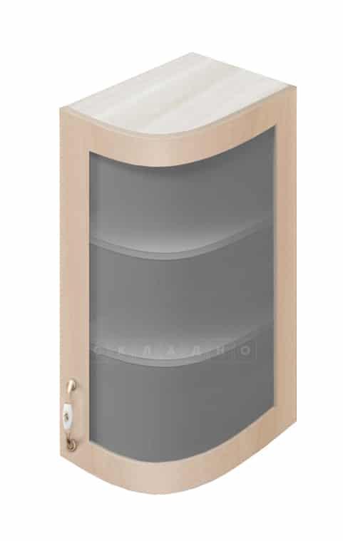 Кухонный навесной шкаф гнутый со стеклом модерн Массив 23см МВ-72в правый фото 1   интернет-магазин Складно