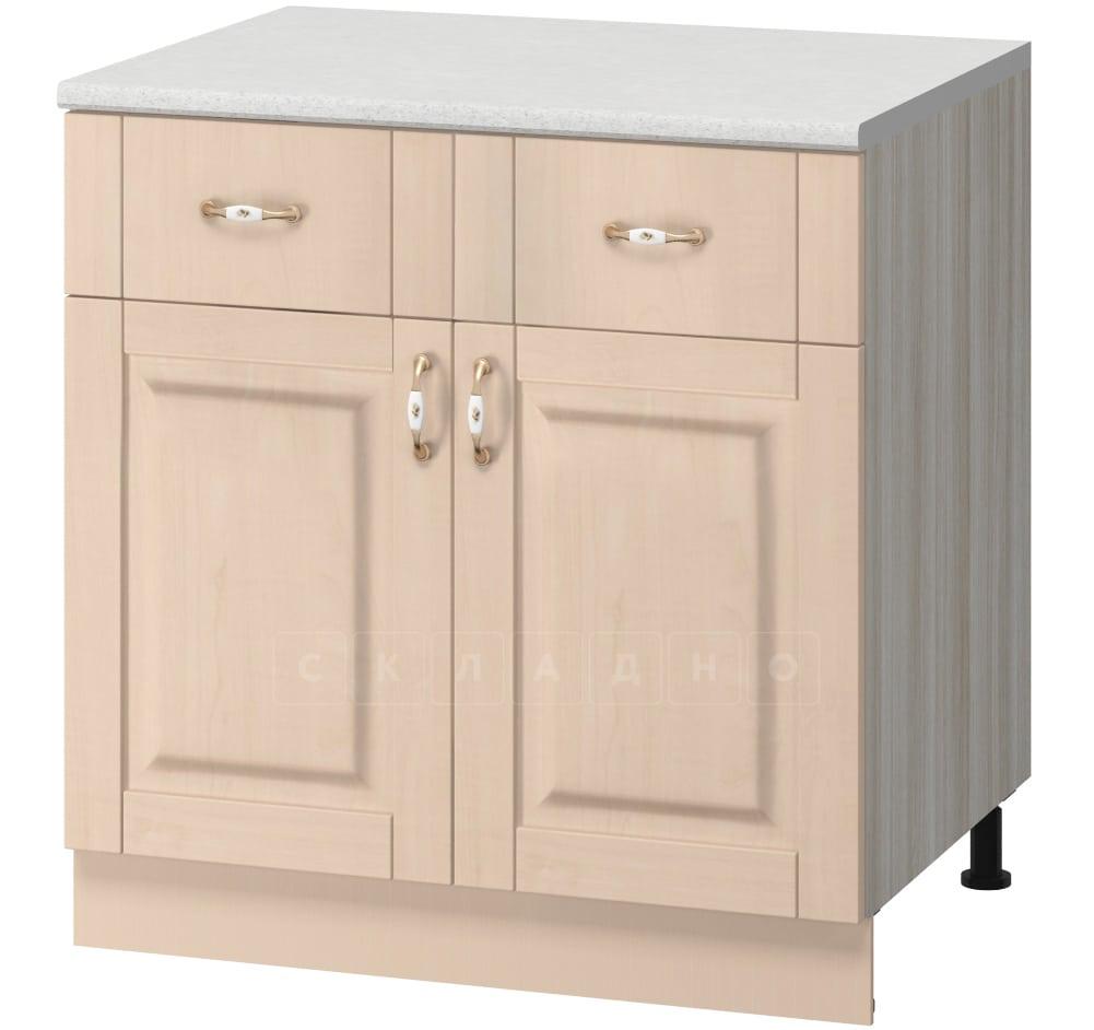 Кухонный шкаф напольный Массив 80см МН-73 с двумя ящиками и двумя дверцами фото 1 | интернет-магазин Складно