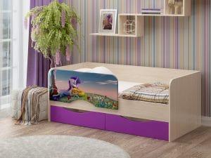 Детская кровать Юниор-12 Единорог фото | интернет-магазин Складно