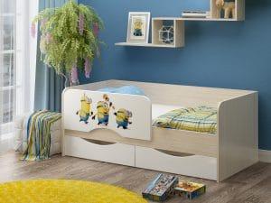 Детская кровать Юниор-12 Миньоны фото | интернет-магазин Складно