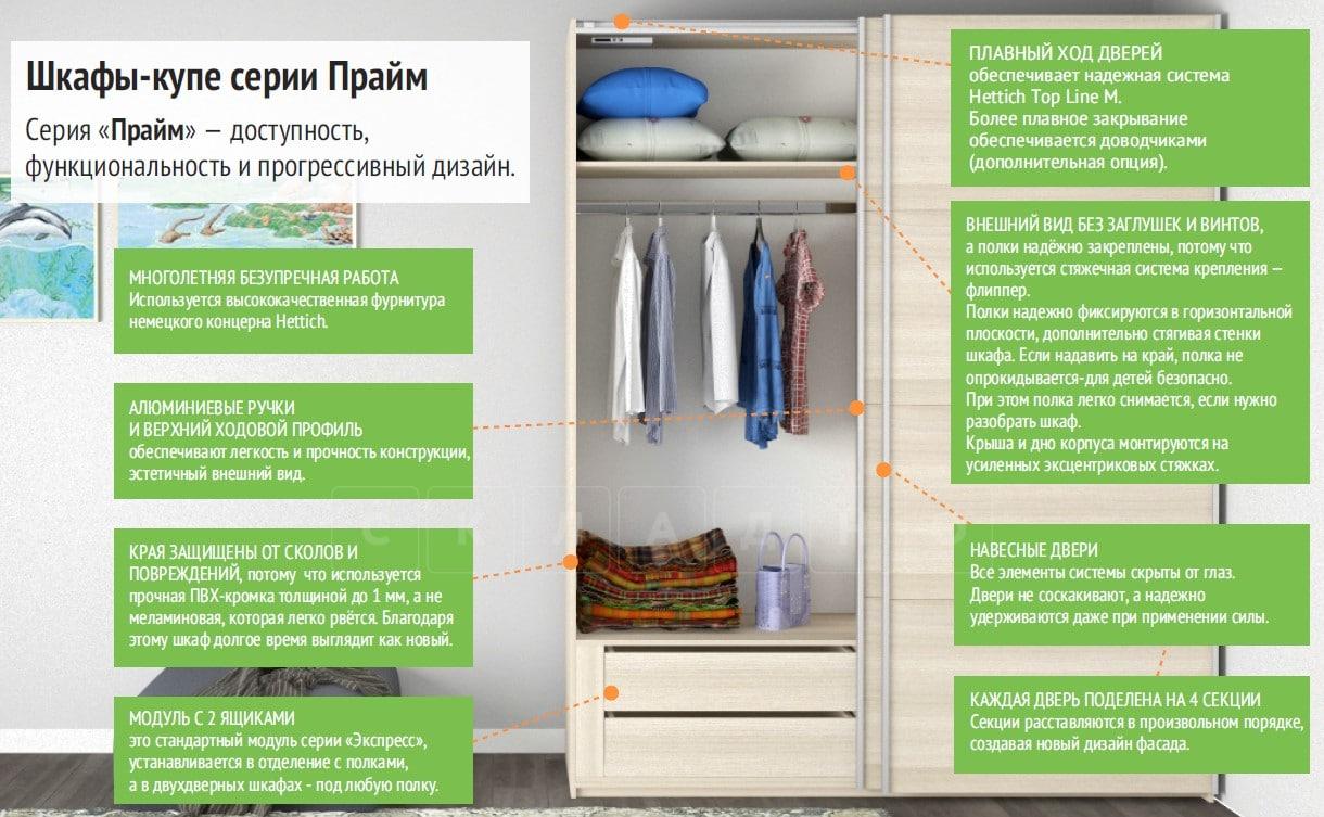 Шкаф-купе Прайм трехдверный ширина 180 см с тремя зеркалами фото 7 | интернет-магазин Складно