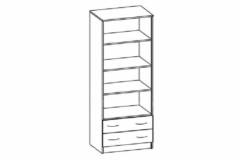 Шкаф с полками для одежды МШ-02 с рамкой мдф фото 2 | интернет-магазин Складно
