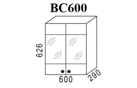 Кухонный навесной шкаф со стеклом Шимо ШВС60 фото 1 | интернет-магазин Складно