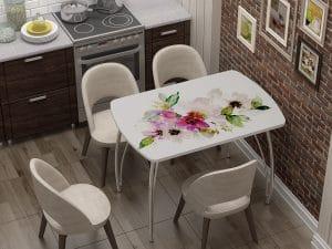 Стол нераздвижной стеклянный Бочонок с фотопечатью Акварель-10940 фото | интернет-магазин Складно