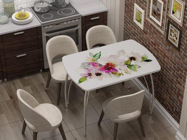 Стол нераздвижной стеклянный Бочонок с фотопечатью Акварель фото | интернет-магазин Складно