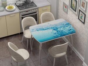 Стол нераздвижной стеклянный Бочонок с фотопечатью Брызги-10936 фото | интернет-магазин Складно