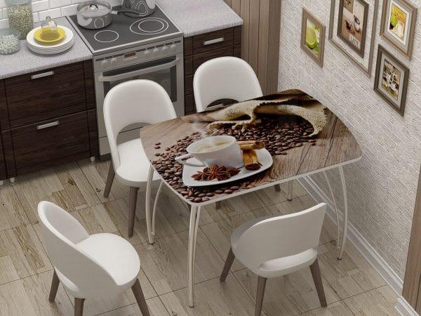 Стол нераздвижной стеклянный Бочонок с фотопечатью Кофе фото | интернет-магазин Складно