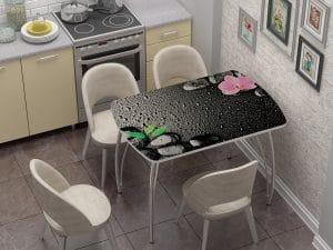 Стол нераздвижной стеклянный Бочонок с фотопечатью Гармония-10931 фото | интернет-магазин Складно