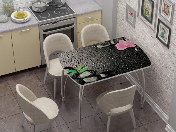 Стол нераздвижной стеклянный Бочонок с фотопечатью Гармония фото | интернет-магазин Складно