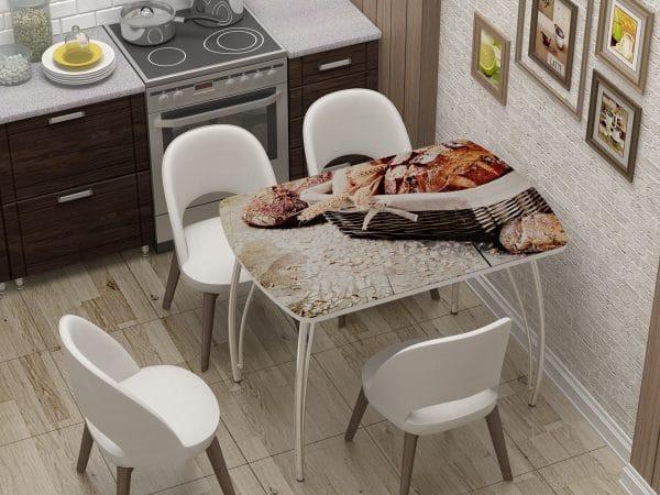 Стол нераздвижной стеклянный Бочонок с фотопечатью Хлеб фото | интернет-магазин Складно