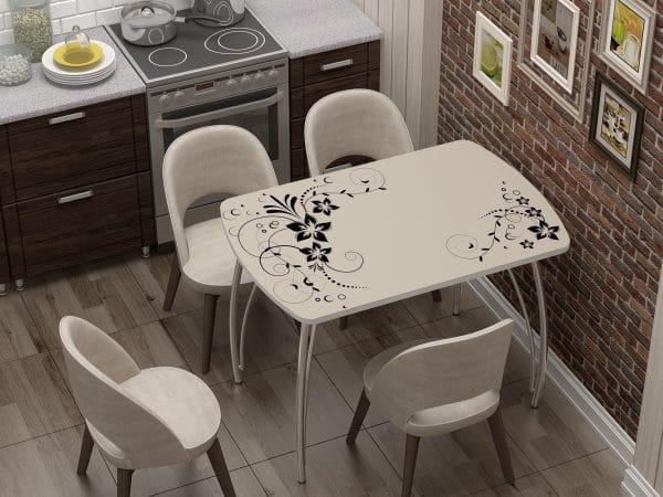 Стол нераздвижной стеклянный Бочонок с фотопечатью Индиго фото | интернет-магазин Складно