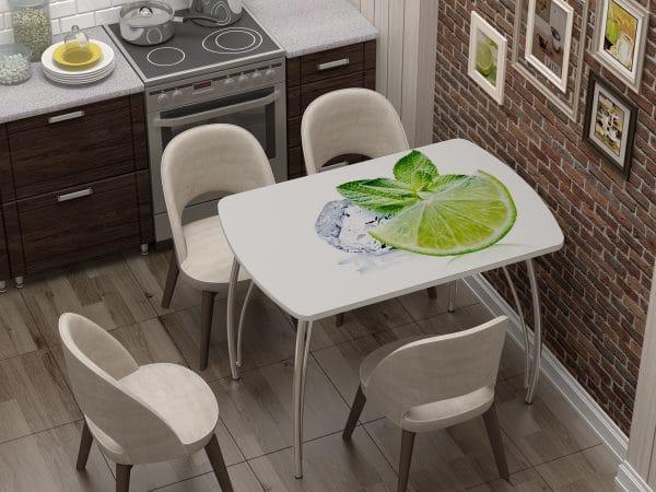 Стол нераздвижной стеклянный Бочонок с фотопечатью Лайм фото | интернет-магазин Складно