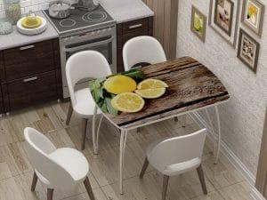Стол нераздвижной стеклянный Бочонок с фотопечатью Лимон-10943 фото | интернет-магазин Складно
