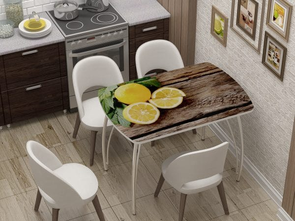 Стол нераздвижной стеклянный Бочонок с фотопечатью Лимон фото | интернет-магазин Складно