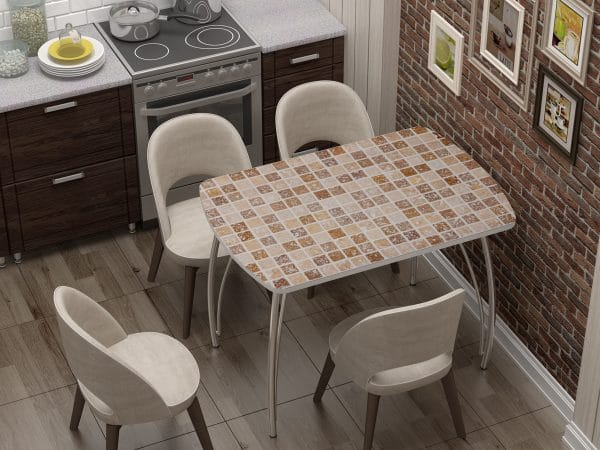 Стол нераздвижной стеклянный Бочонок с фотопечатью Мозайка фото | интернет-магазин Складно