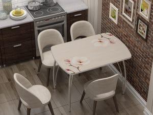 Стол нераздвижной стеклянный Бочонок с фотопечатью Нежность-10941 фото | интернет-магазин Складно